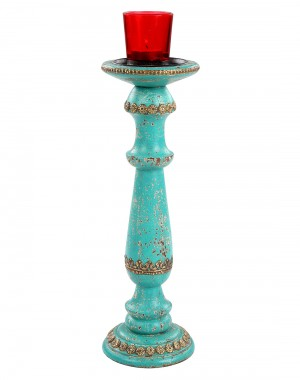 Sea Green Hand Painted Vintage Wood And Metal Candle Holder