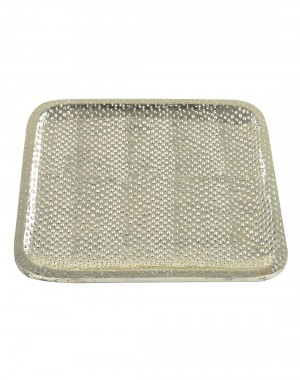 Dash Embossed Silver Wood And Metal Tray