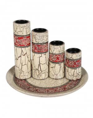 Hand Painted Paisley Cream Wood And Metal Candle Holder