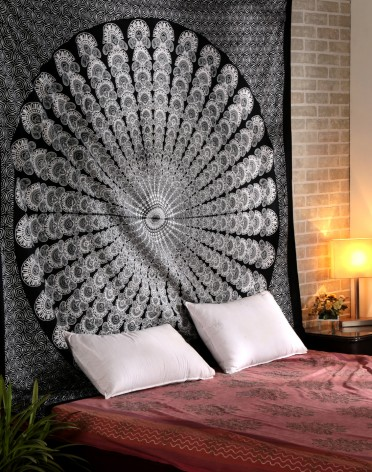 Carbon Black Mandala Tapestry Indian Wall Hanging, Bedsheet, Superior Quality Hippie Wall Tapestry or Bedspread in Organic Cotton Tree of Life