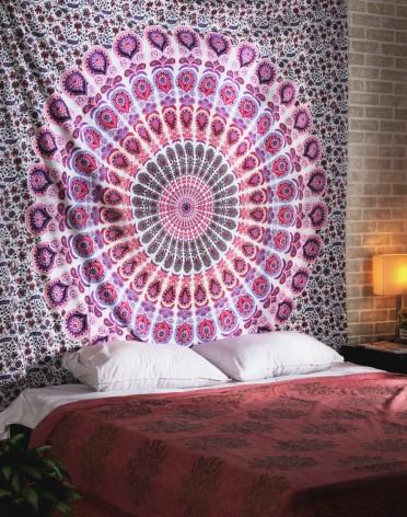 Peacock Mandala Tapestry, Indian Hippie Wall Hanging , Bohemian Bedspread, Mandala Cotton Dorm Decor Beach blanket