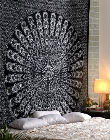 Large White Black Mandala Tapestries, Mandala Tapestries, Peacock Mandala Tapestries, Hippie Hippie Tapestries