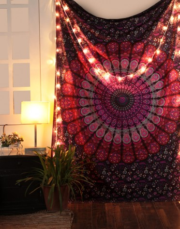 Pink & Purple Mandala Indian Tapestry, Hippie Wall Hanging , Bohemian Bedspread, Mandala Cotton Dorm Decor Beach Blanket