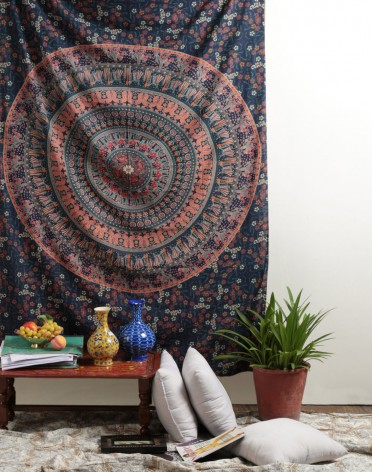 Twin Hippie Elephant Tapestries Wall Hanging , Indian Mandala Tapestry Bedspread , Dorm Tapestry, Decorative Wall Hanging , Tapestries for Dorms