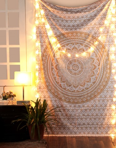 Gold Mandala Tapestry Single Cotton Printed Wall Hanging Dorm Decor
