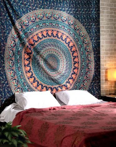 Elephant mandala tapestry , green elephant mandala tapestry,wall hanging tapestry , Bohemian tapestry